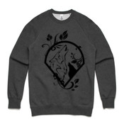 UNISEX BLACK WOLF LOGO CREW ON LIGHT BACKGROUND