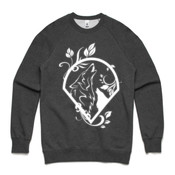 UNISEX WHITE WOLF LOGO CREW ON DARK BACKGROUND